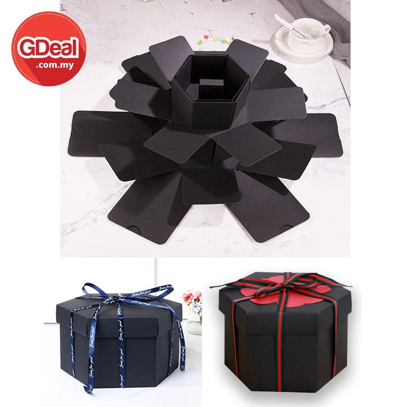GDeal Multilayers Hexagon DIY Album Creative Gift Box Explosion Picture Album Present Box