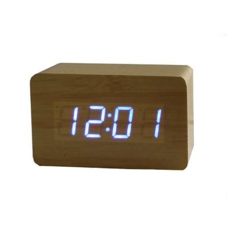 Modern Wooden Alarm Clock Multi-Function LED Woodern Alarm Clock Small Rectangle