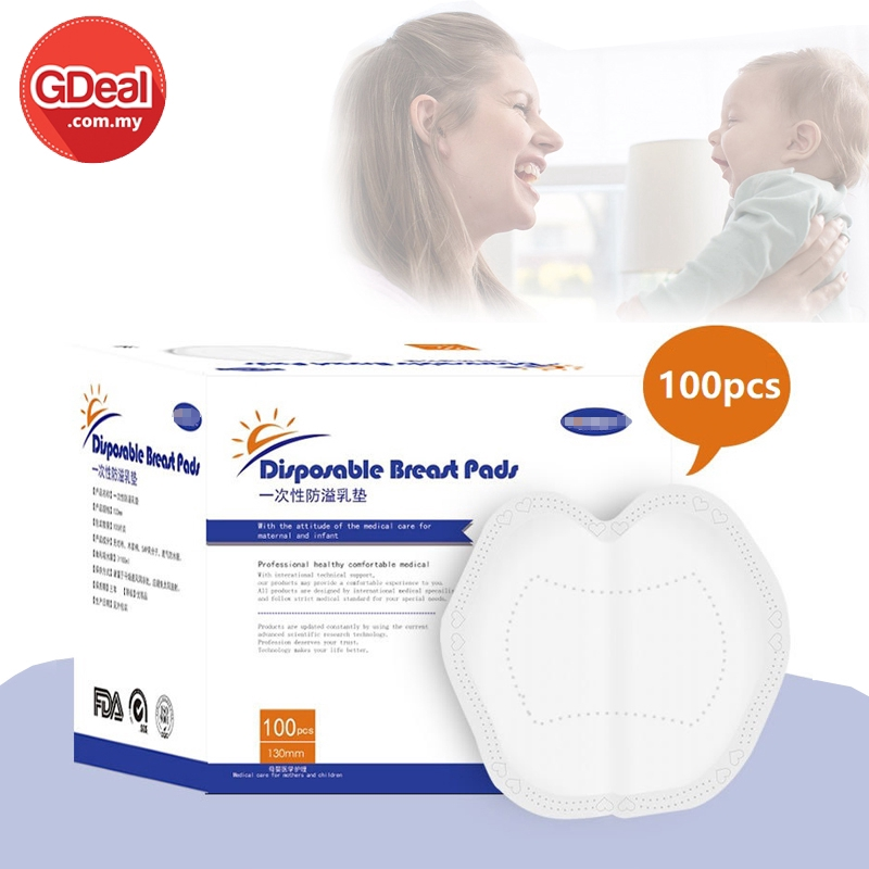 GDeal 100pcs Breathable Disposable Breast Pad Stay Dry 3D Leak Proof Breastfeeding Milk