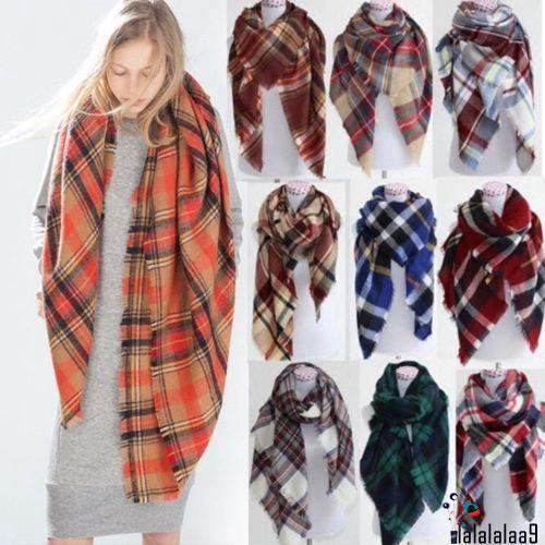 09452d26a2b AAM-Women Blanket Oversized Tartan Scarf Wrap Shawl Plaid Cozy Checked  Pashmina