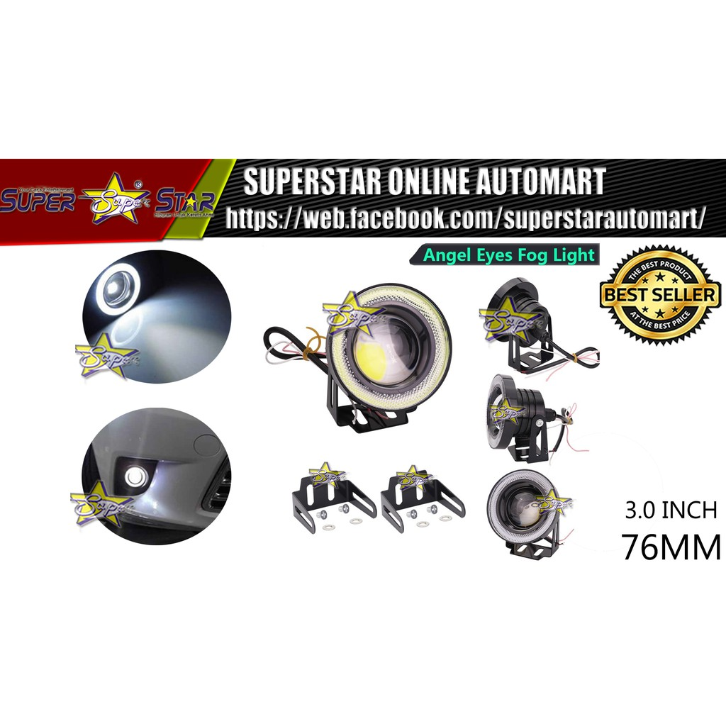 LED 3.0 inch 76mm R500 Universal Angel Eyes Fog Lamp Fog Light - white Led