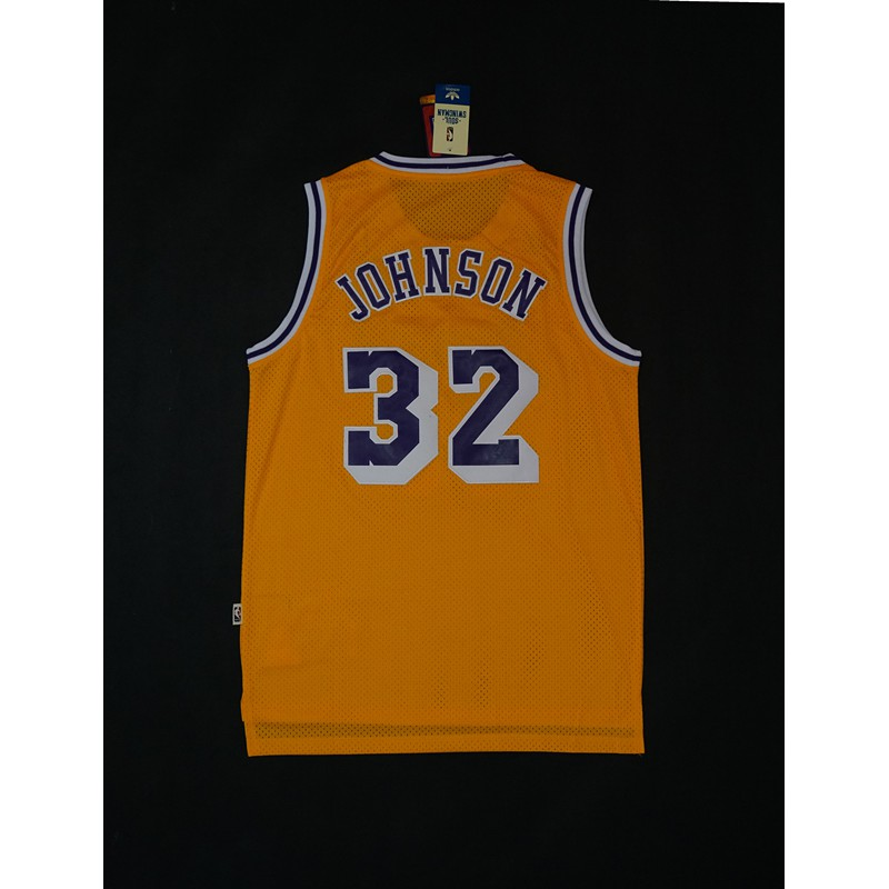 S Los Angeles Lakers #32 Earvin Johnson Yellow Basketball Jersey Size XXL