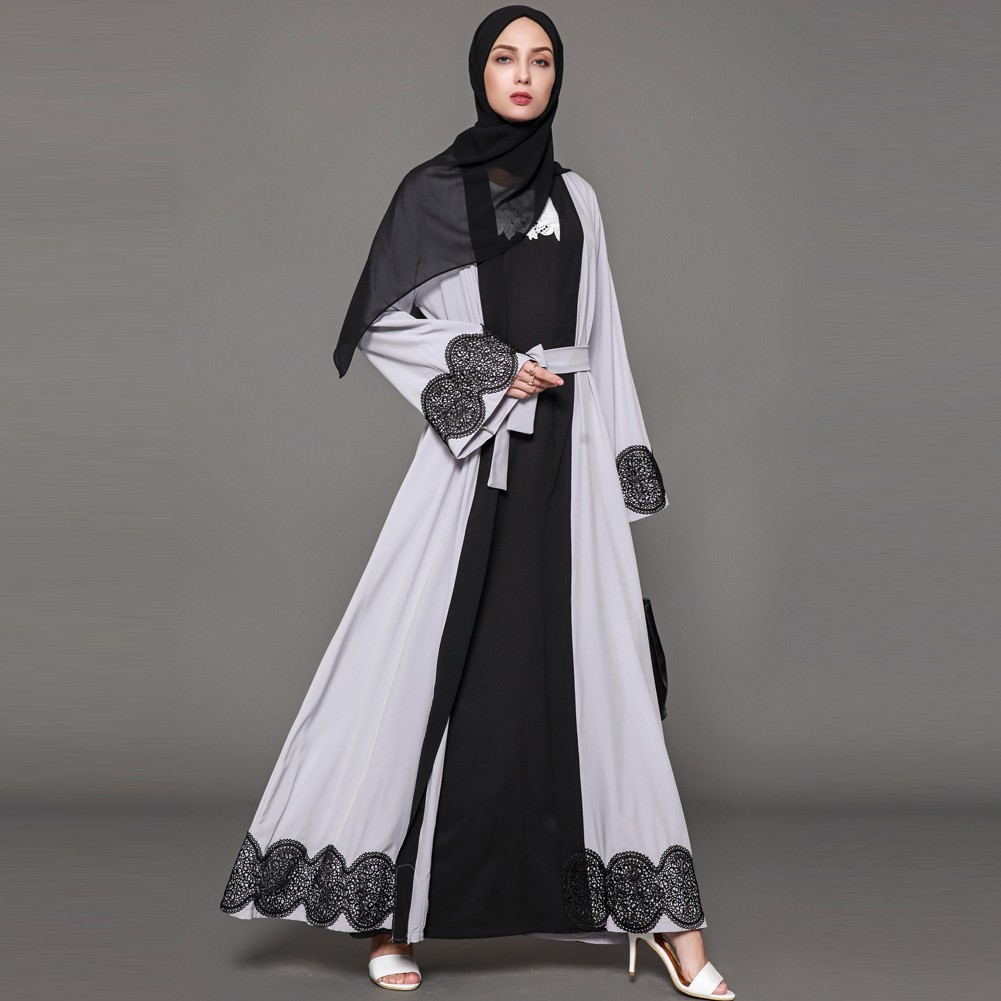 737110654d Crochet Lace Spliced Color Block Long Sleeve Maxi Gown Islamic Dress  Burgundy   Shopee Malaysia
