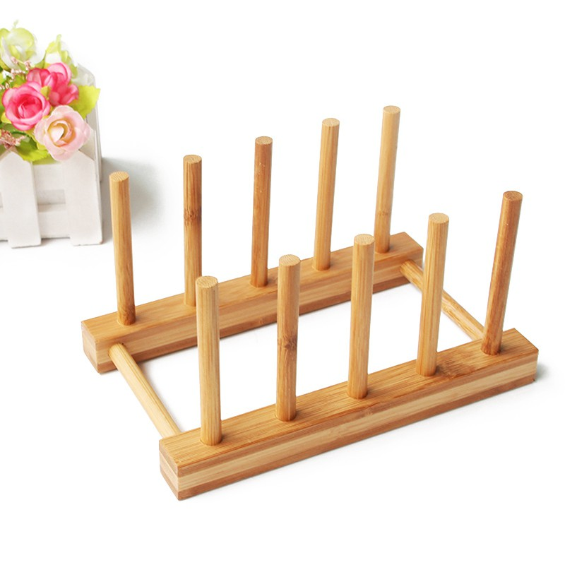 Dish Rack Pots Wooden Plate Stand Wood