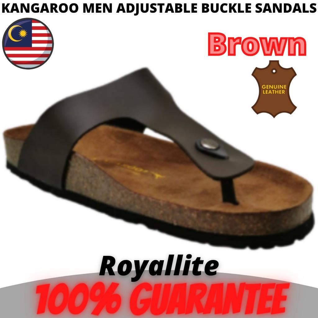 KANGAROO MEN ADJUSTABLE BUCKLE SLIP ON SANDALS (KM3685) Brown & Black