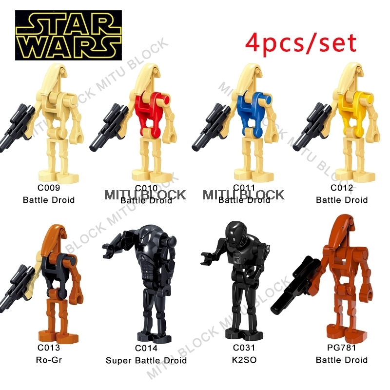 100Pcs//Lot Lego Star Wars Battle Droid Ro-Gr K2So Figures Starwars Minifigures