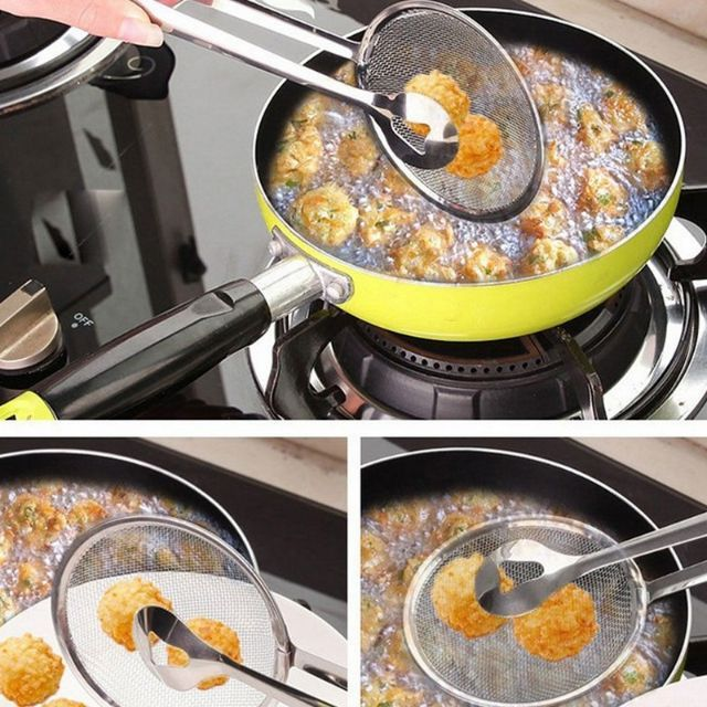???????? Multi functional Stainless Steel Colander Oil Frying Filter Fried Food Clip