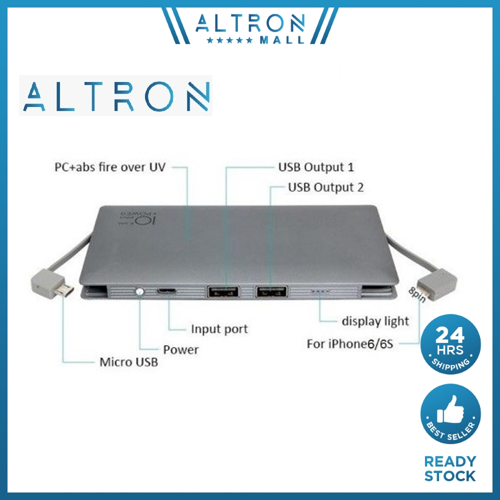 ALTRON built in cable Fast charging Super Slim Li Polymer Power Bank 10000Mah