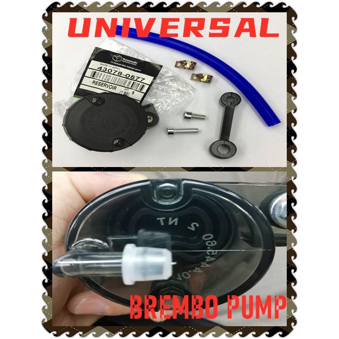 UNIVERSAL MOTORCYCLE BREMBO BRAKE MASTER PUMP CAP BIG LARGE  BOTOL SMOKE WITH BLUE HOSE & BRACKET VF3I Y15 RS150 FZ150