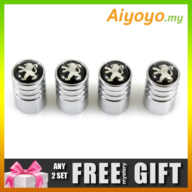 PEUGEOT 4pcs Car Wheel Tire Valve Stem Air Cap Dust Cover Cylinder Shape