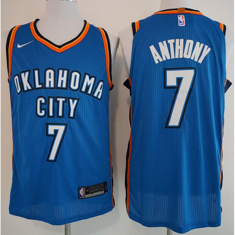 newest 21f63 4b59c *superbrand* Nike 100% Original NBA Oklahoma City Thunder Carmelo Anthony  #7 Blue basketball jersey S-XXL