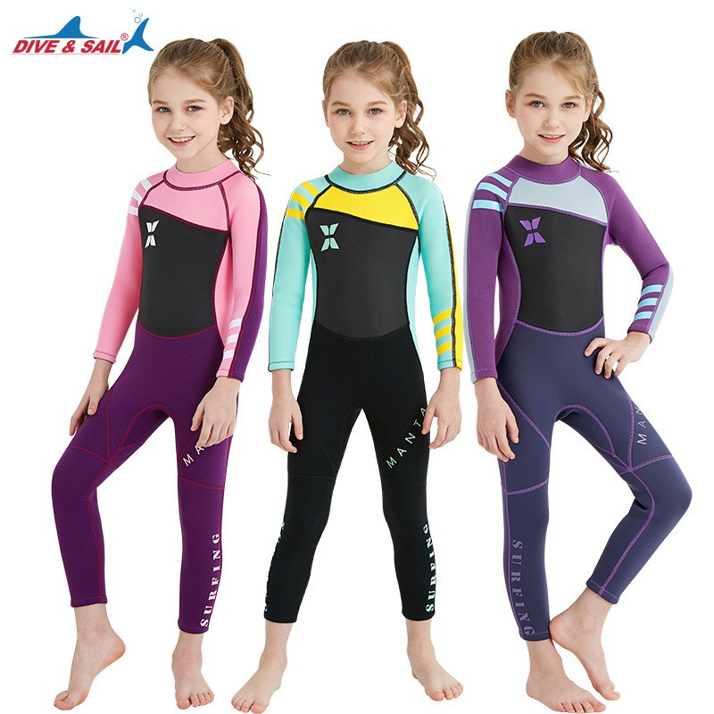 dd7e82d88 Lycra Long Sleeve Swimwear Kids One Piece Swimsuit Boys Girls Surf Bathing  Suit   Shopee Malaysia