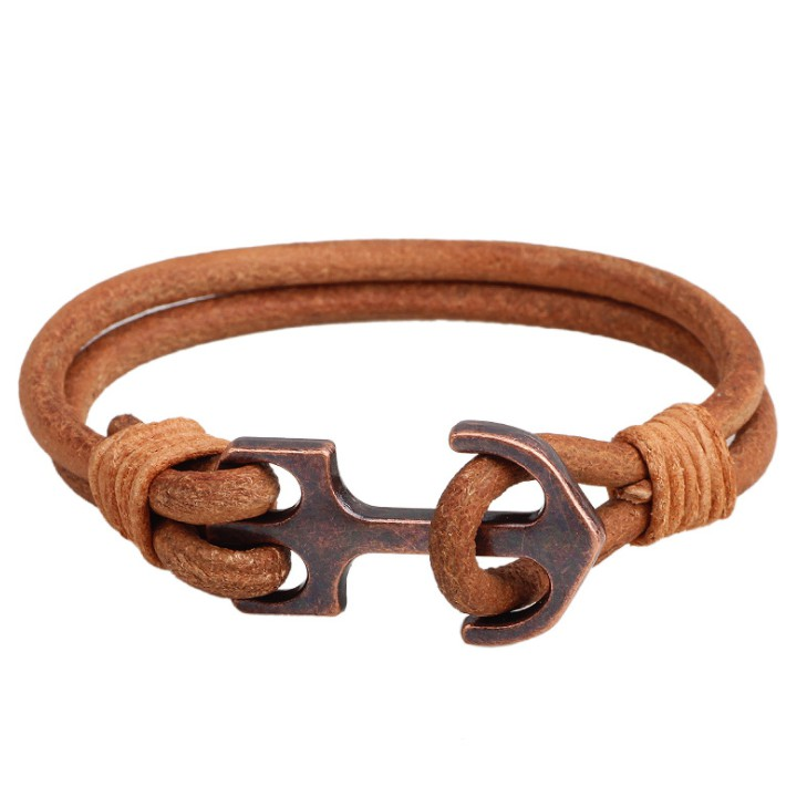 Cowhide Leather Rope with Ancient Anchor Bracelet