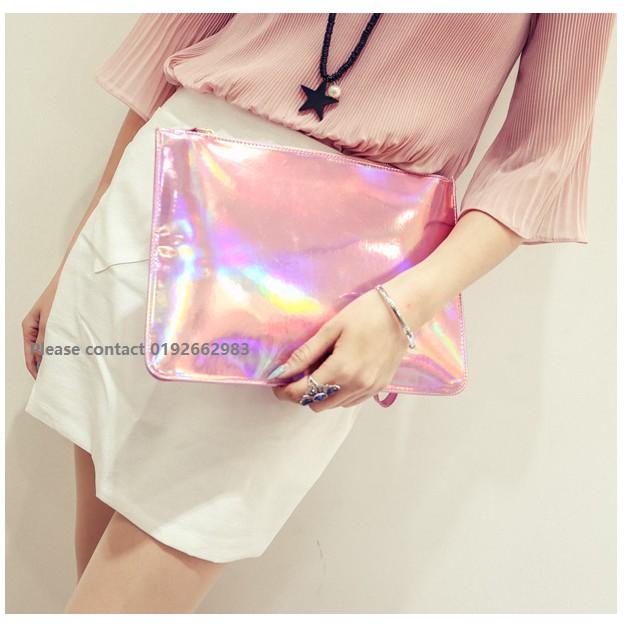 1012-Pink Korean Fashion Style PU Leather Solid Handbag