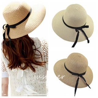 2df83e43 Women Fashion Sweet Straw Hat Bow Ribbon Beach Cap Sun Block UV Protection  | Shopee Malaysia