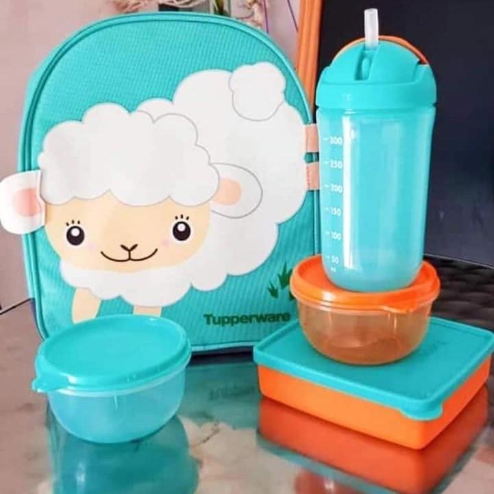 Tupperware Back To School Set / Sheep Cartoon Blue School Bag / Full Set or Without Bag Choice / Sheep Blue School Bag