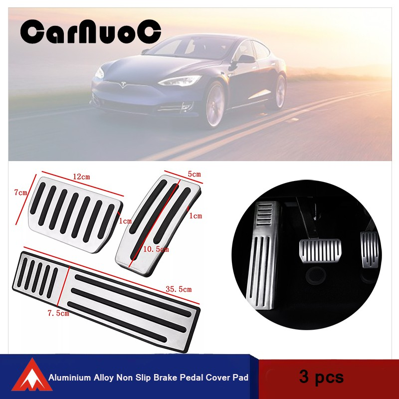 A Set of 2 Pieces Pedals Stainless Steel Anti-Slip Accelerator Brake Pedals Pad Cover Customized for Model S X Pedal Cover No Drill Gas Brake Pedal Fits: Model S and Model X