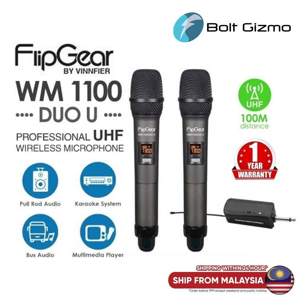 Vinnfier FlipGear WM1100 DUO U Professional UHF Wireless Microphone with Audio