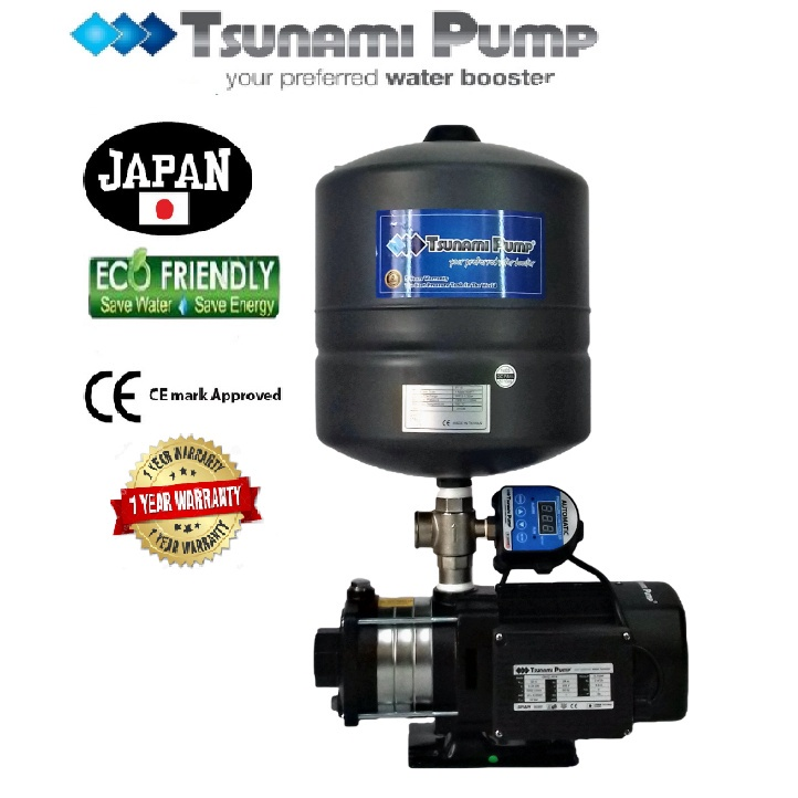 Tsunami CMH2-40-IPT  Digital Pressure Home Tank Horizontal Multi-StagePump Water Pressure Pump Booster 【1 Year Warranty】