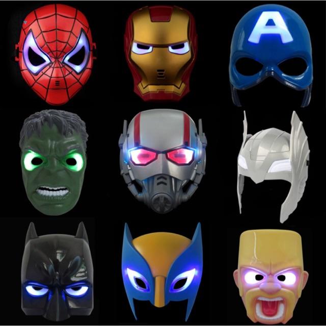 Superhero The Avengers Costume LED Light Eye Mask Glowing Super Hero Iron Man Batman Party Cosplay Mask