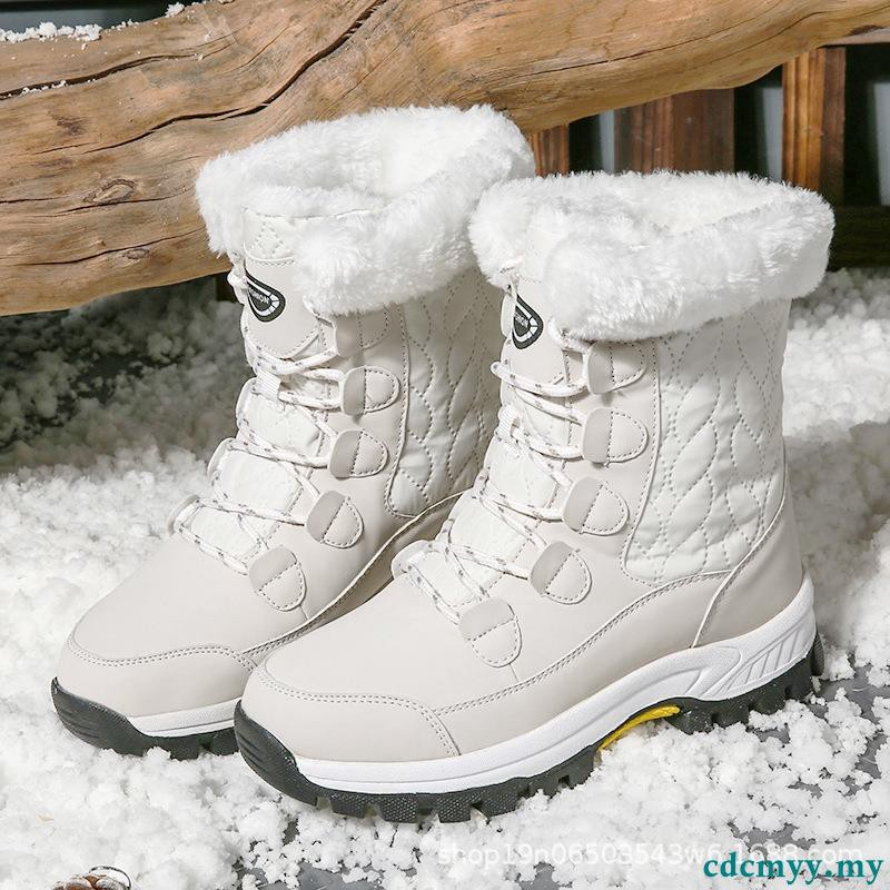 Women Snow Boot Winter Thick Platform Ankle Boots Fahsion Round Toe Lace Top Casual Outdoor Hiking Shoes