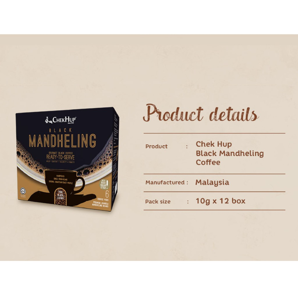 Chek Hup Black Mandheling Gourmet Black Coffee (10g x 6s)