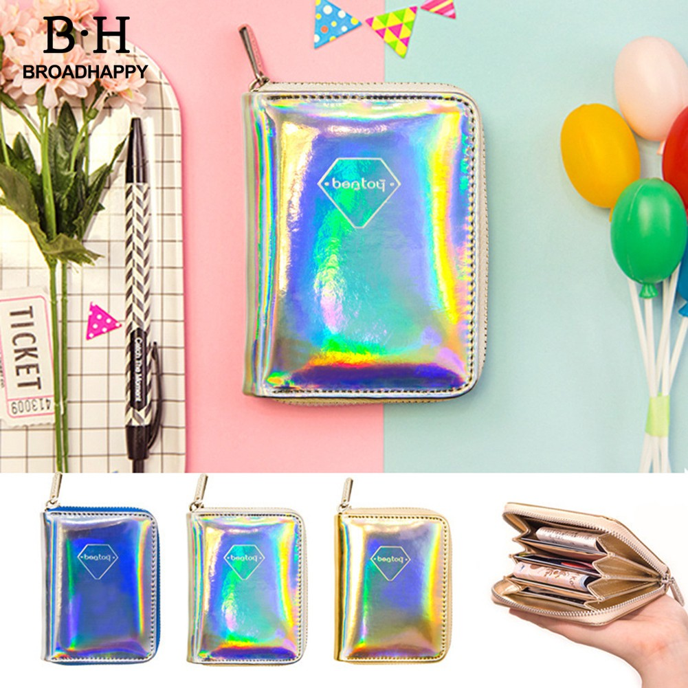 broadhappy Holographic Laser Faux Leather Zipper Card Holder Small Wallet Bag