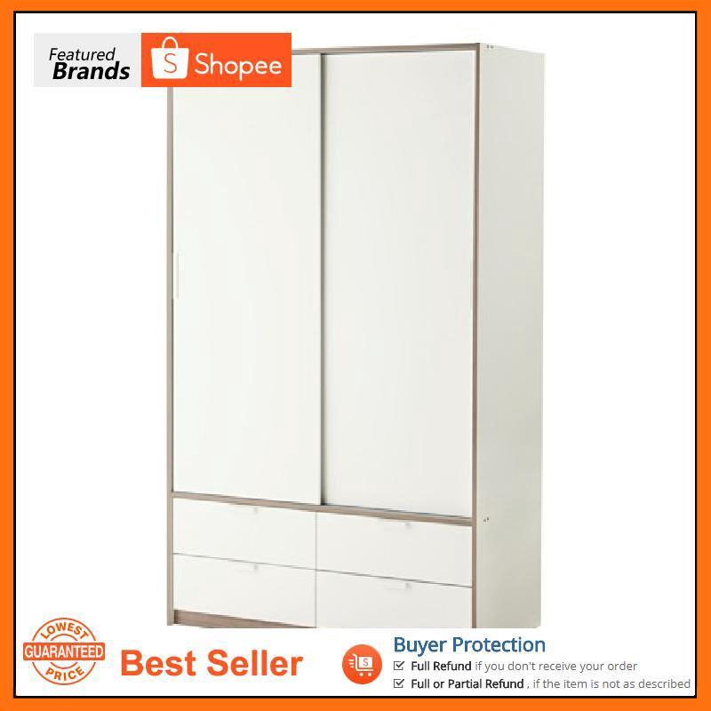 DRAWERS WHITE 118X61X202 CM IKEA TRYSIL WARDROBE W SLIDING DOORS/4