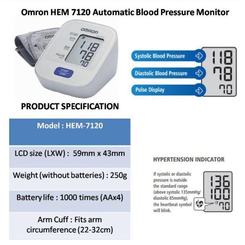 Omron Blood Pressure Monitor HEM-7120 [READY STOCK]
