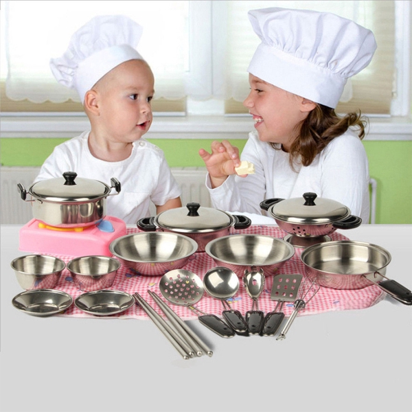 20pcs Mini Stainless Steel Pots Pans Cookware Miniature Toy Pretend Play  Gift for Kid