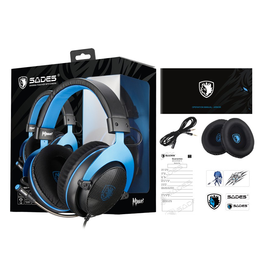 {SD-MPOWER-BLUE / SD-MPOWER-PINK} Sades Mpower Video Gaming Headset - PS4/ PS5,XBOX,NS,PC,Mobile (Blue/Pink)
