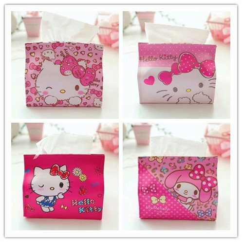 Cute Cartoon Hello Kitty Melody Leather Facial Tissue Cover Cases Bag Tissue Box Holder