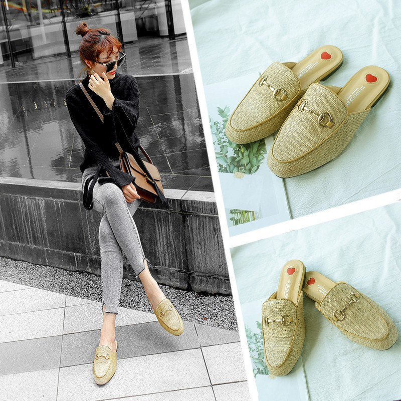 2018 autumn and winter new fashion wear versatile port wind rose embroidery  outdoor lazy baotou hairy half slippers  ecb11cbb4a90