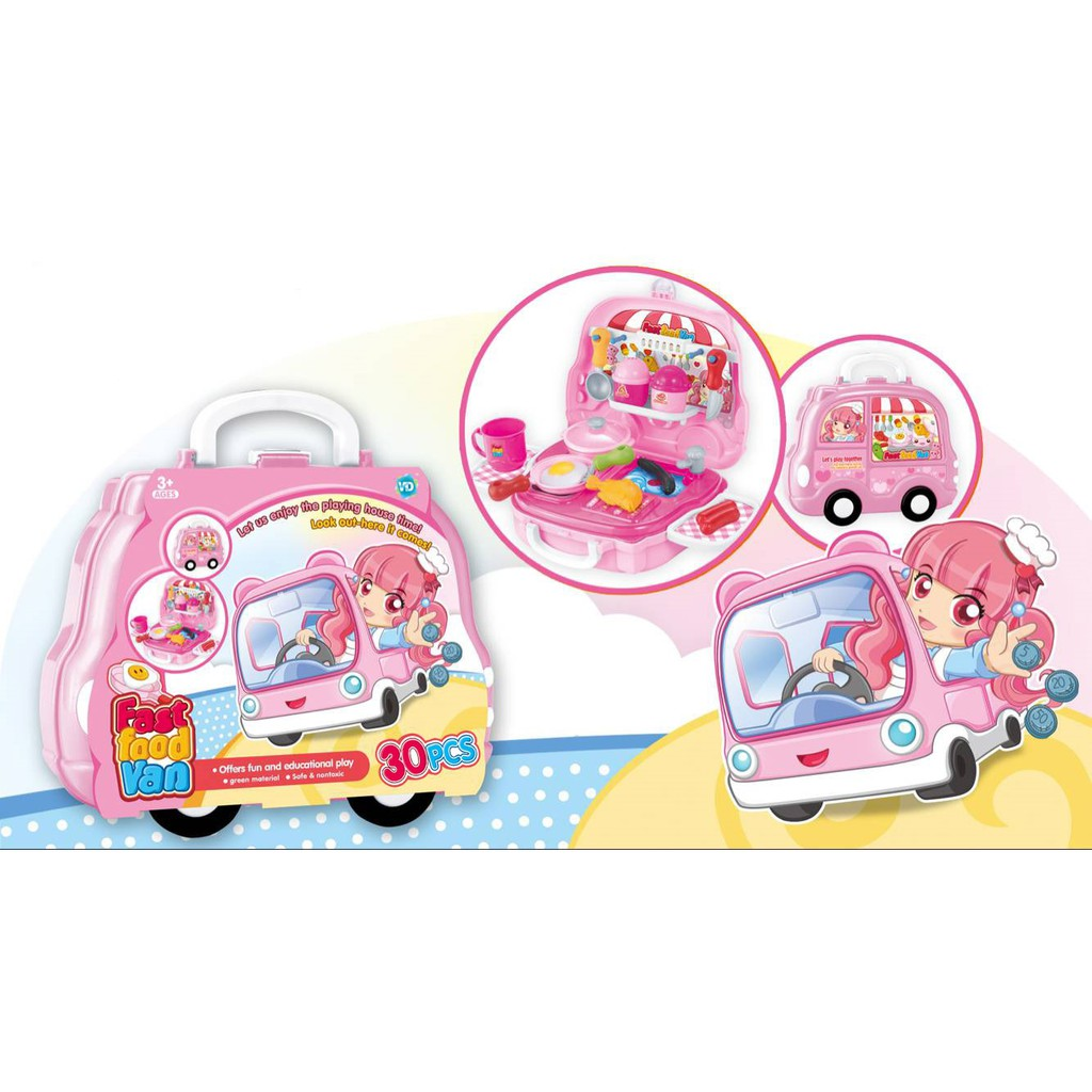 CHILDREN PORTABLE 2 IN 1 BAG AS CAR 30PCS FAST FOOD VAN FUN TOY CAR PLAYSET FOR GIRL AND BOYS