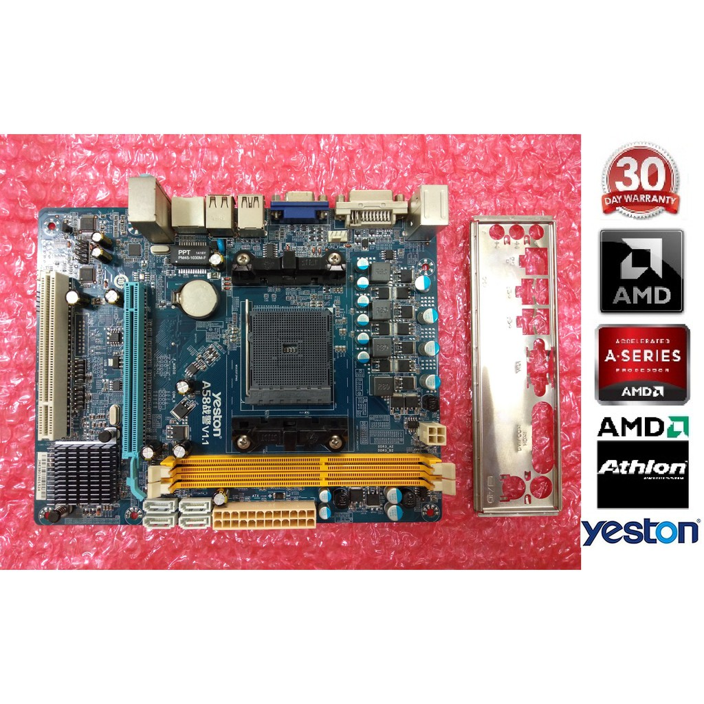 YESTON® A58 AMD® FM2/FM2+ Socket M-ATX Motherboard with I/O Plate  Motherboard