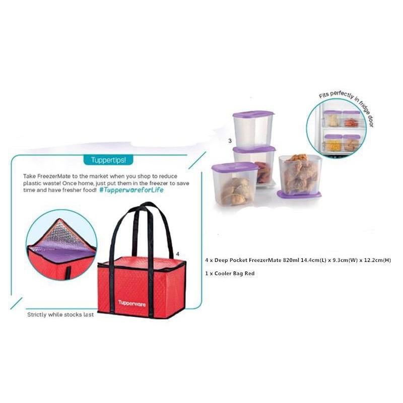 💥NEW STOCK!!💥 Tupperware Deep Pocket Freezermate 820ml / Cooler Bag (1)