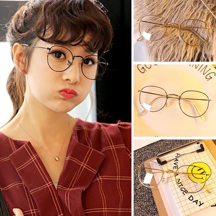 Korean Style Retor Women Clear Lens Small Fresh Round Glasses