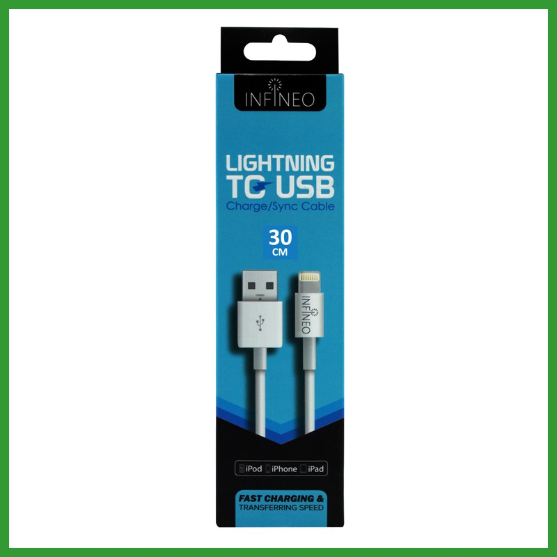 INFINEO 30CM 8Pin Lightning USB Cable support latest iOS 11 version