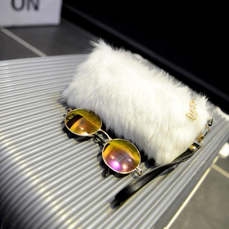 Fashion Women Elegant Clutch Bag Faux Fur Handbag Wallet Clutch Candy Color