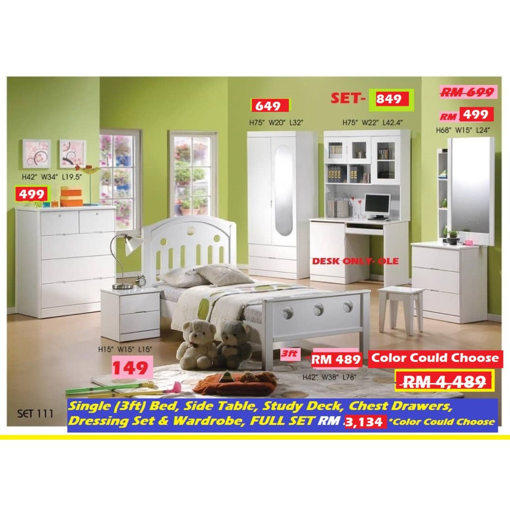 CHILDREN BED ROOM SET, WHITE COLOR, SINGLE BED & OTHER ITEMS, FULL SET!! RM 4,489!! BEST BUY HARI RAYA DEAL, RM 3,141!!