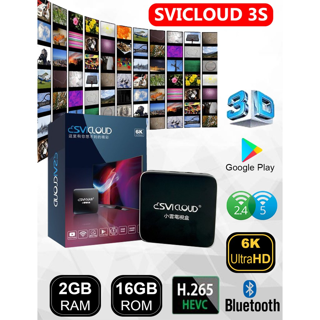 SVICloud 3S Malaysia Version Tv Box Android Box Youtube Netflix 2+16GB 6K 2.4GHz WiFi