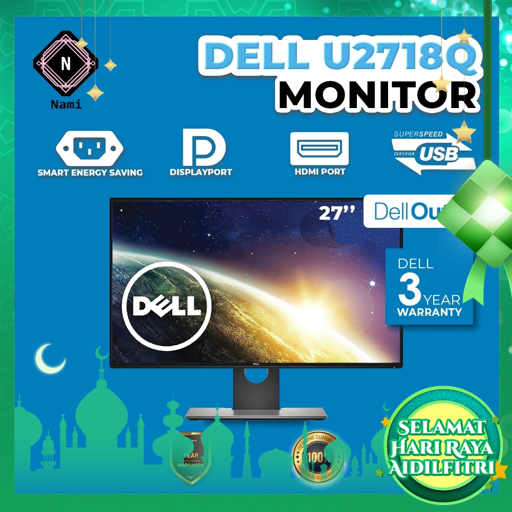 """Dell Outlet Refurbished - U2718Q 27"""" Ultrasharp 4K IPS LED Monitor - 3 Years WTY by Dell"""