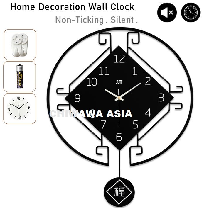 Silent Non-Ticking Modern 3D DIY Pendulum Horloge Swing Wall Clock Home Office Living Room / Jam Dinding