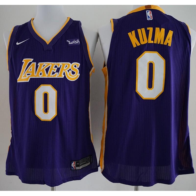 best website 3fb24 b98c9 【REAL Pic】original NIKE NBA Los Angeles Lakers Kyle Kuzma #0 purple  basketball jerseys S-XXL