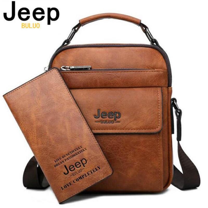Man Messenger Bag 2 Set Men Pu Leather Shoulder Bags Business Crossbody Casual Bag,1505-2-8068-Brown