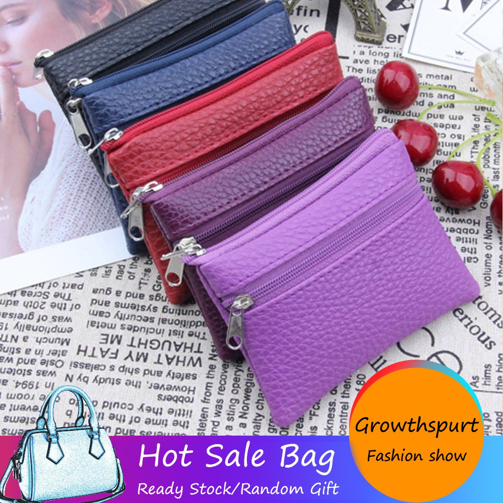 Women Leather Card Wallet Multi Functional Zipper Leather Coin Purse