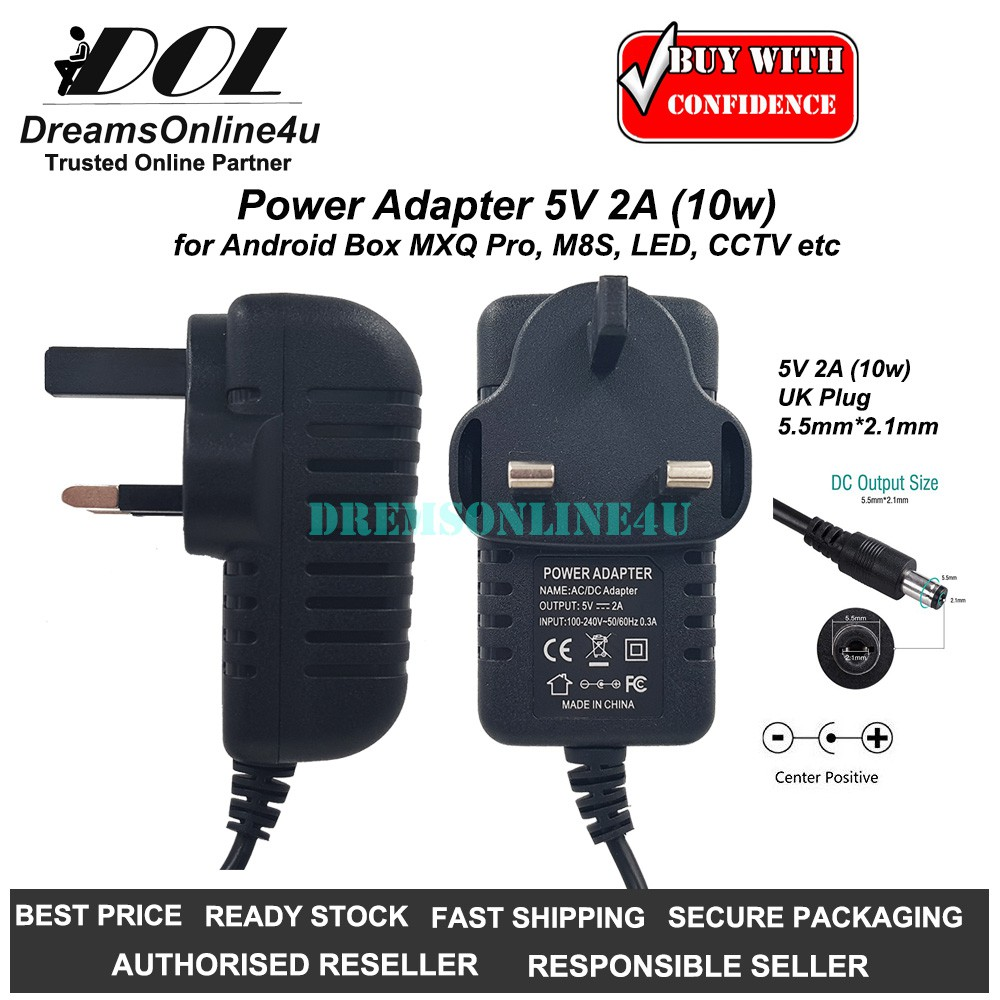 Replacement Power Adapter 5V 2A 5 5mm x 2 1mm for TV Android Box MXQ Pro  M8S UK