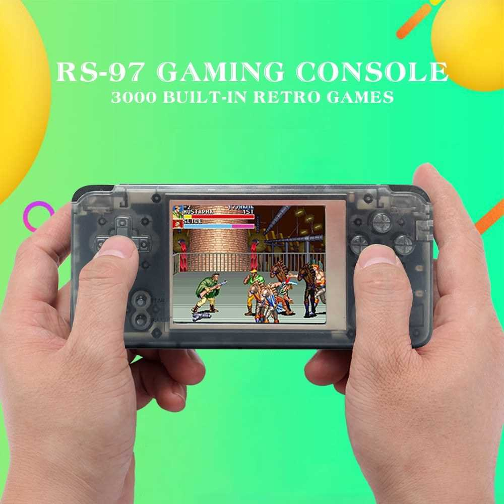 RS-97 Portable Mini Handle Gaming Console 3000 Built-in Retro Games 3' LCD Screen 16GB Birthday Gift for Kids (Black)