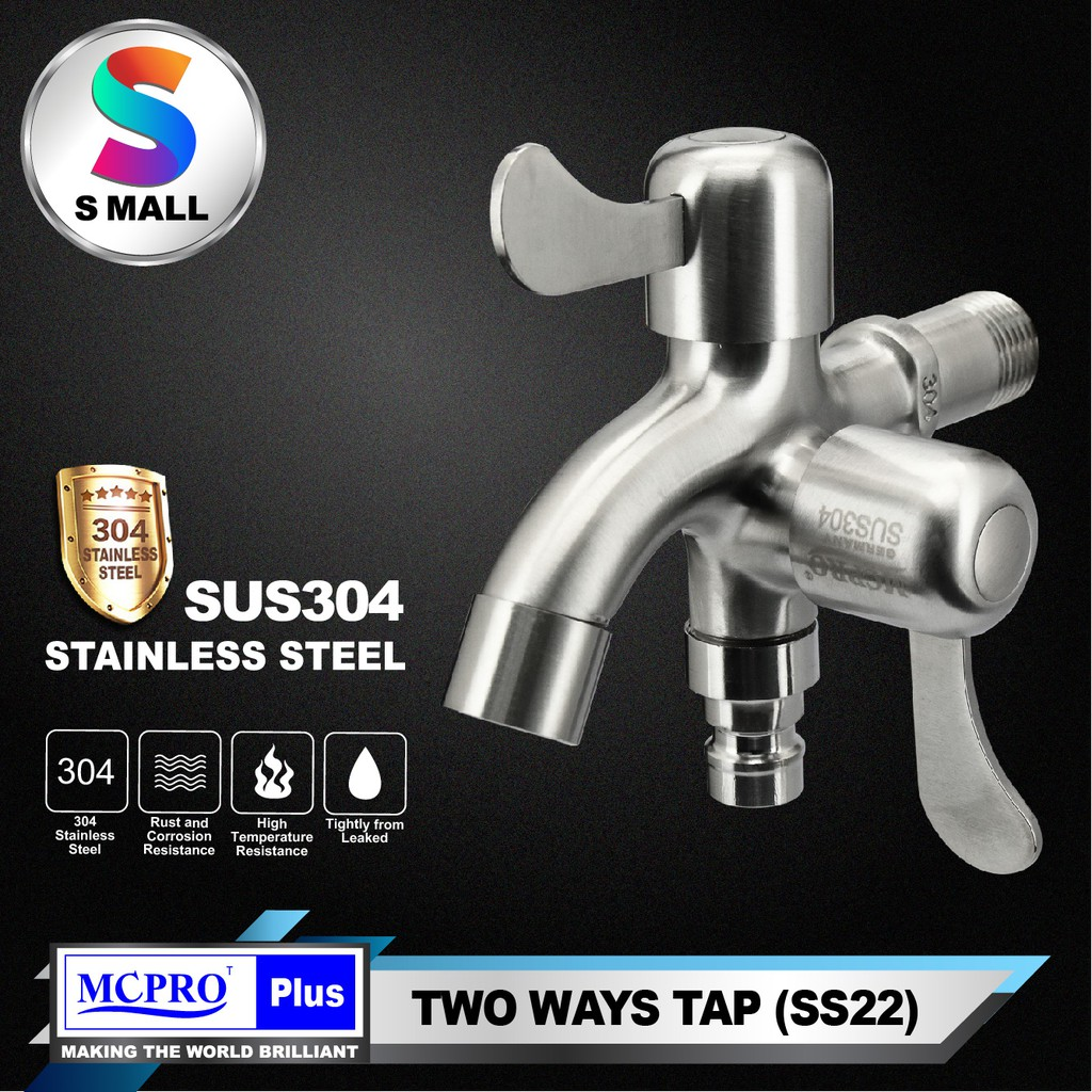 MCPRO PLUS Stainless Steel SUS304 BATHROOM LAUNDRY TWO WAY WATER TAP (SS22)