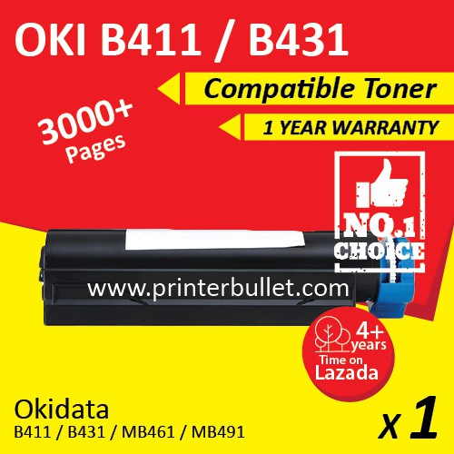 OKI B411 / B411d / B411dn MB 461 / MB 471 / MB 471dnw / MB 491 Compatible Toner